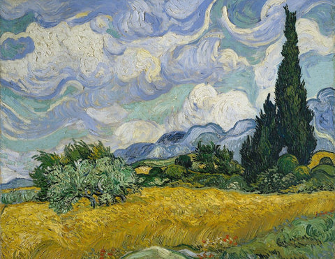 A Wheatfield with Cypresses - Life Size Posters