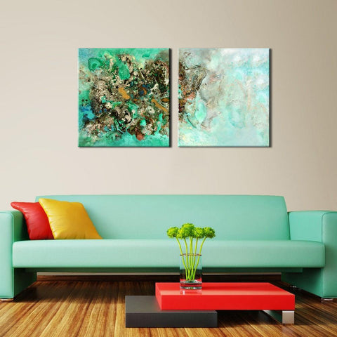 Coral Island- Modern Abstract Painting - Set Of 2 Gallery Wrap (36 x 68 inches) Final Size