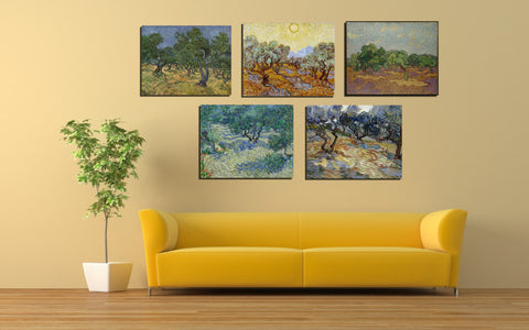 Set Of 4 Olive Trees - Premium Quality Gallery Wrap (14 x 18 inches)