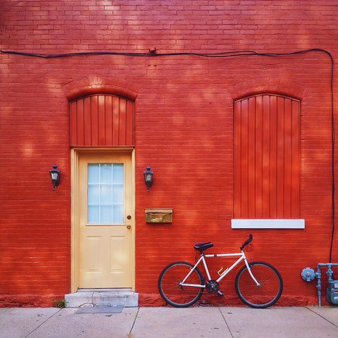 Red Wall with a Bicycle