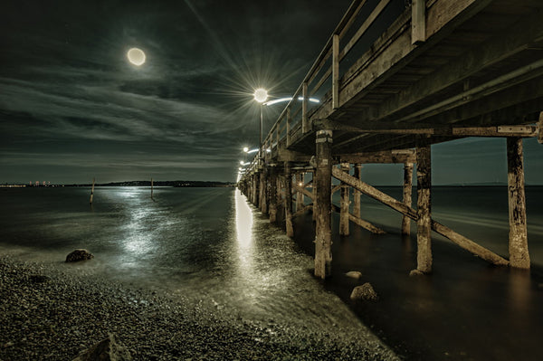Pier Under Light Of Full Moon - Canvas Prints