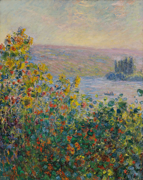Artwork of Flower Beds At Vétheuil by Claude Monet