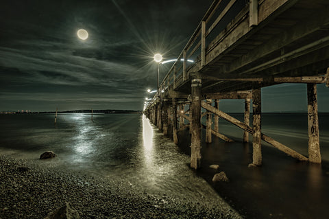 Pier Under Light Of Full Moon - Art Prints