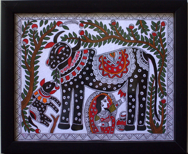 Cow-Madhubhani by Poornima C | Tallenge Store | Buy Posters, Framed Prints & Canvas Prints