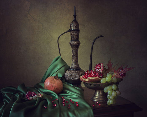 Oriental Still Life With Pomegranates - Canvas Prints