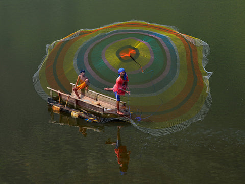 A Fisherman And A Rainbow Web - Posters