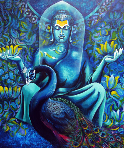 Buddha With Peacock - Posters