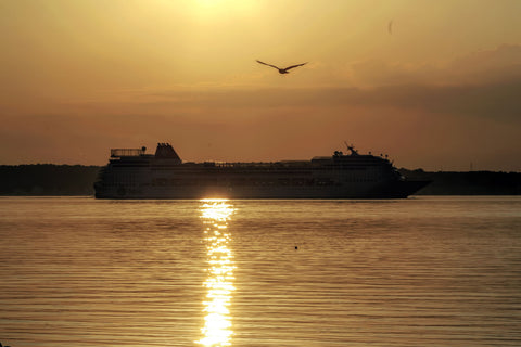 Cruise Ship Enter The Sound Between Denmark And Sweden