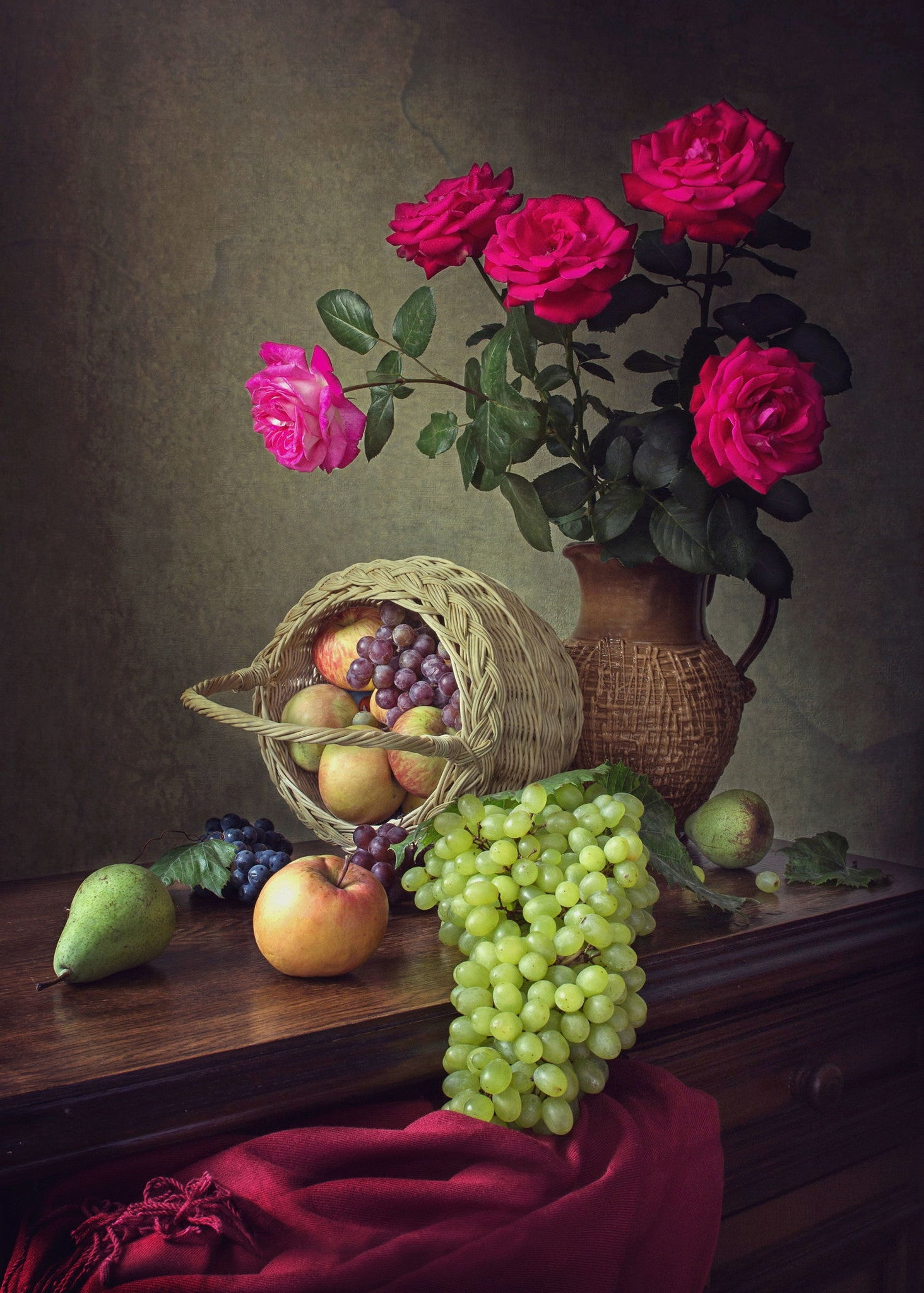 still life with roses and fruit canvas prints by iryna prykhodzka