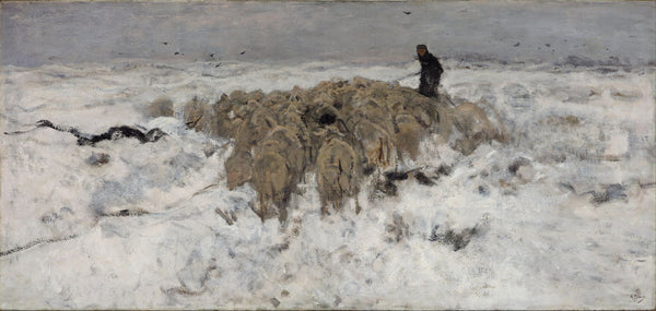 Flock Of Sheep With Shepherd In The Snow - Posters