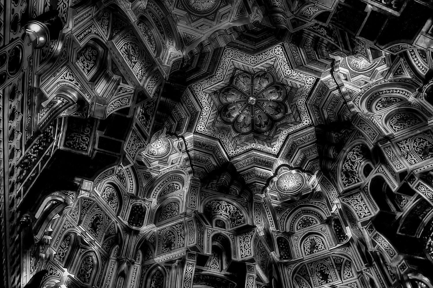 Ceiling In Black And White Framed Prints By William De Simone