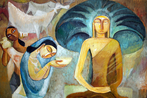 Sujatha Offering Buddha His First Meal