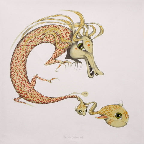 Dragon And Fish - Posters by Federico Cortese