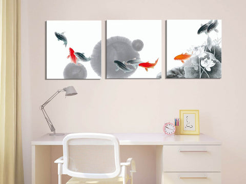Chinese Ink Art - Fish Pond - Triptych - Art Panels