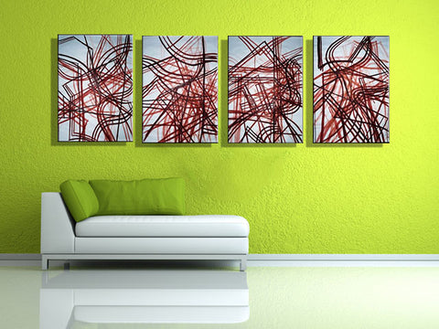 Red Lines 4 Ways - Art Panels