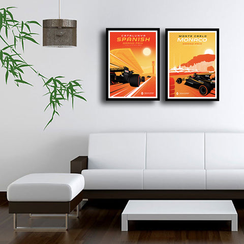 Set Of 2 Grand Prix Monaco and Spain - Premium Quality Framed Poster (26 x 36 inches) by Susie Bryan
