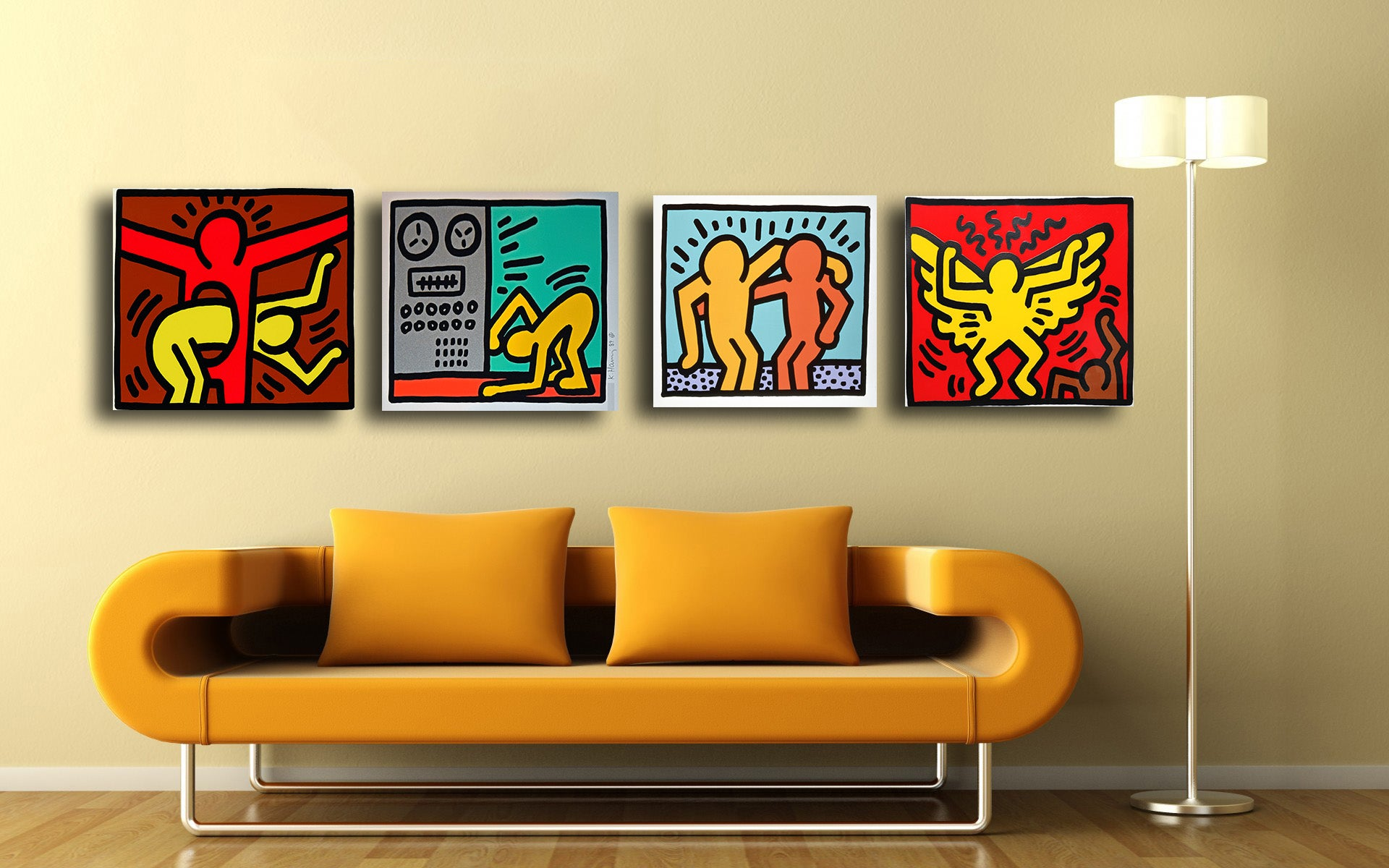 Set Of 4 Keith Haring Paintings - Gallery Wrapped Art Print (12x17 ...