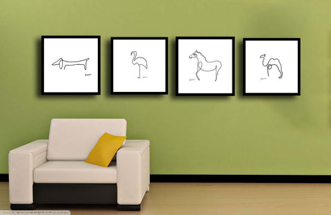 Set Of 4 Picasso Line Drawings - Camel, Flamingo, Horse and Dachshund - Premium Quality Framed Digital Print (12 x 12 inches)