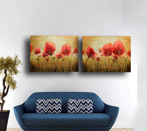 Set Of 2 Poppy Field In Summer - Gallery Wrapped Art Print (24x30)