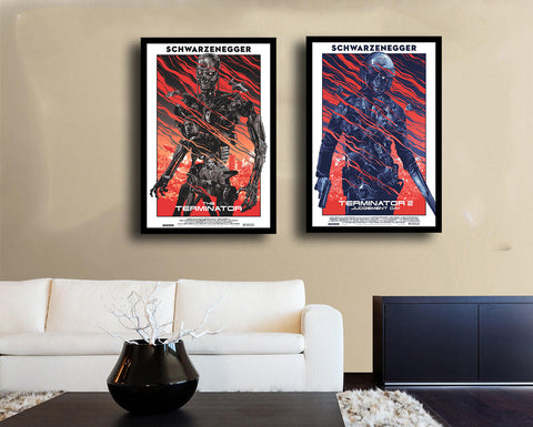 Set Of 2 Art Movie Poster - Terminator  - Premium Quality Framed Poster (18 x 24 inches) by Susie Bryan