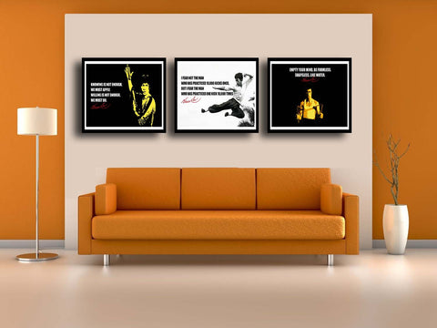 Set Of 3 Bruce Lee - Premium Quality Framed Poster (12 x 18 inches) by Susie Bryan