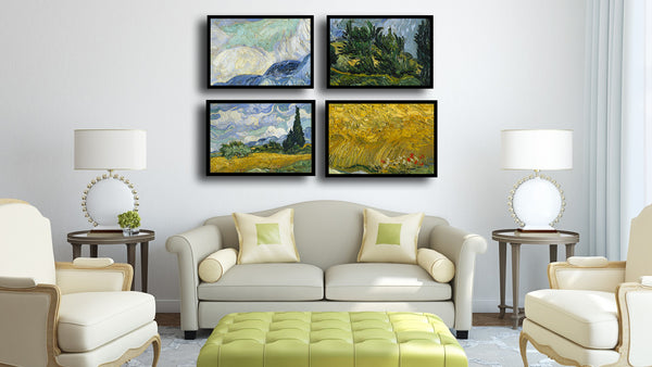 Set Of 4 Wheatfield With Cypresses - Premium Quality Framed Canvas (14 x 18 inches)