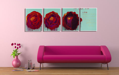 Abstract Rose - Contemporary Painting -  Set Of 4 Gallery Wrap (18 x 24 inches) Final Size
