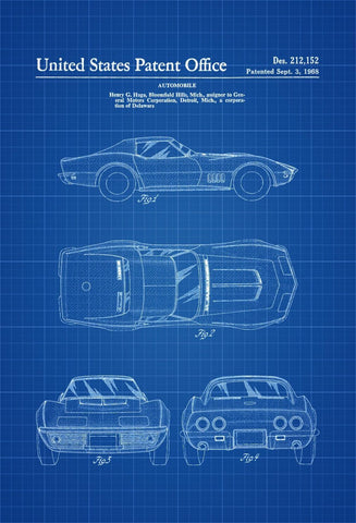 1968 Classic Car - Posters by Ana Vans