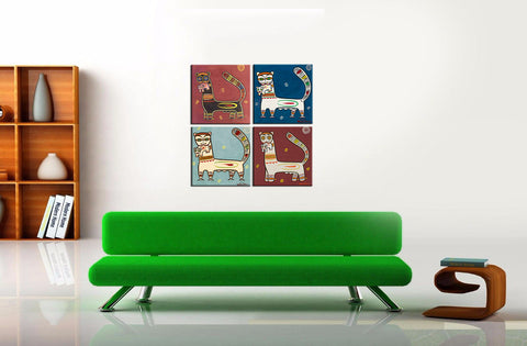 Set of 4 Jamini Roy Paintings - Tiger And Cub - Gallery Wrapped Art Print