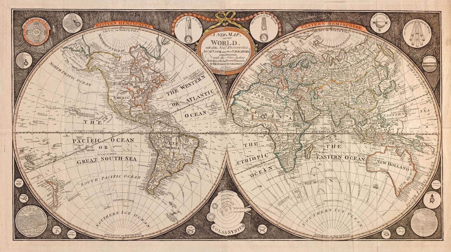 Decorative vintage world map a new map of the world i evans decorative vintage world map a new map of the world i evans gumiabroncs Image collections