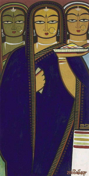 Jamini Roy -  Three Women I - Canvas Prints