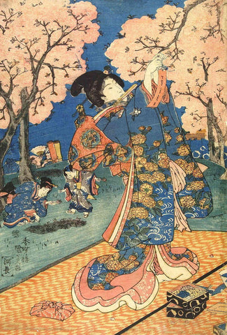 Cherry Blossom Viewing Party (Hanami) - Utagawa Kunisada I - Japanese Woodblock Print - Posters