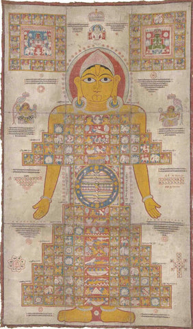 A Large Jain Pata Of The Cosmic Man Gujarat North West India 17th Century by Tallenge Store