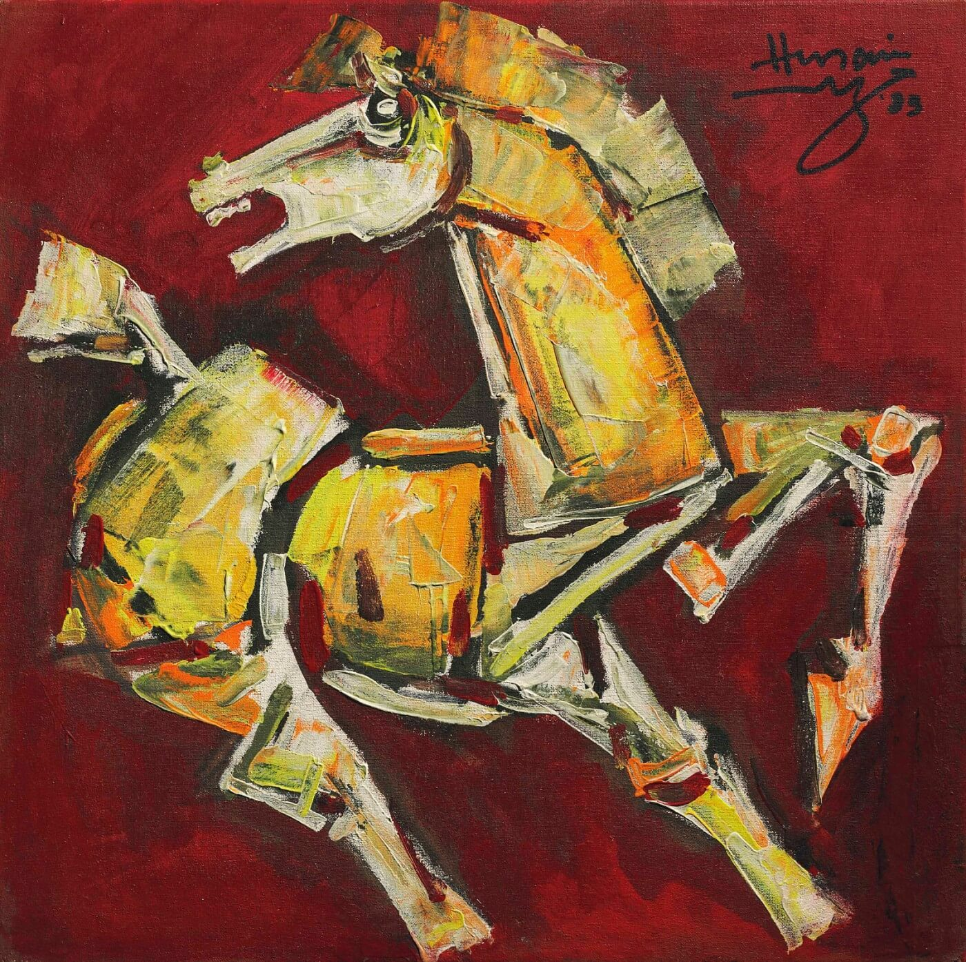 Yellow Horse Canvas Prints By M F Husain Buy Posters Frames Canvas Digital Art Prints Small Compact Medium And Large Variants