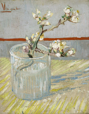Sprig of Flowering Almond in a Glass by Vincent Van Gogh