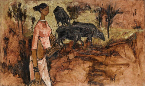 Woman with Bulls