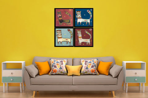Set of 4 Jamini Roy Paintings - Tiger And Cub - Framed Canvas by Jamini Roy