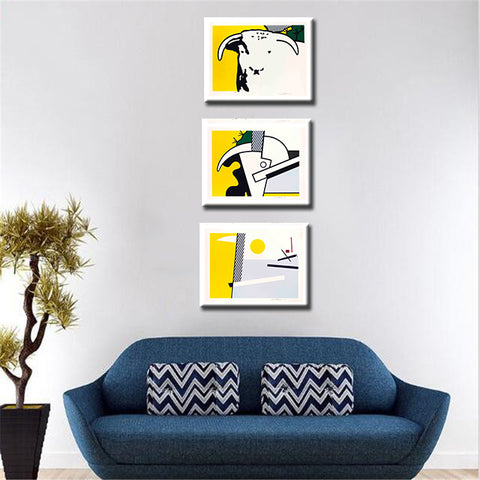 Set Of 3 Roy Lichtenstein Paintings- Bull Head Series - Gallery Wrapped Art Print