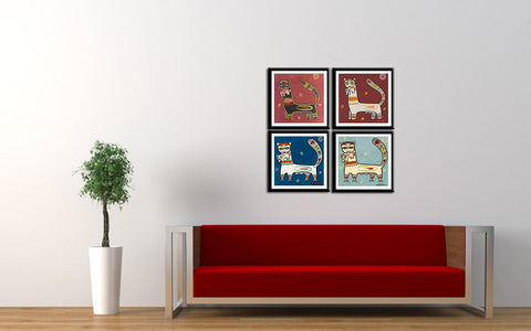 Set of 4 Jamini Roy Paintings - Tiger And Cub -  Framed Digital Art Print With Matte And Glass