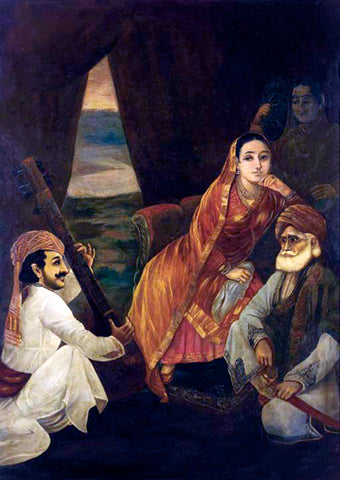 Court Scene - Raja Ravi Varma Press Oleograph Print -  Vintage Indian Art