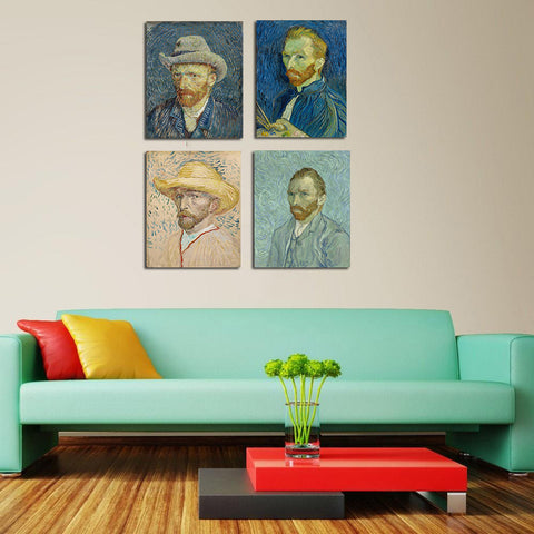Set Of 4 Self Portraits - Premium Quality Gallery Wrap (15 x 18 inches)