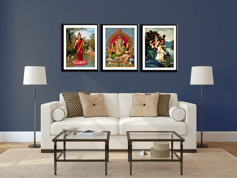 Set of 3 Ganesh Lakshmi Saraswati - Raja Ravi Varma  - Framed Posters - Small (10 x 18) inches each