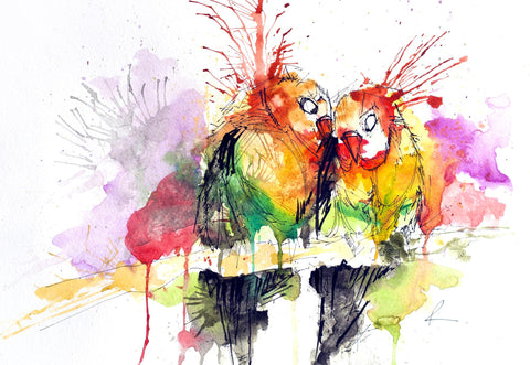 Love Birds Abstract Art by Sina Irani