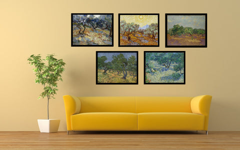 Set Of 4 Olive Trees - Premium Quality Framed Canvas (14 x 18 inches)