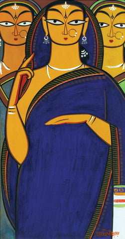 Three Pujarins by Jamini Roy
