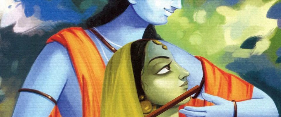 Indian Art - Krishna With Radha Playing Flute by Raghuraman | Buy Posters, Frames, Canvas  & Digital Art Prints