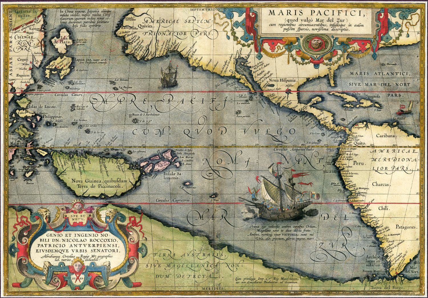 Decorative vintage world map maris pacifici abraham ortelius decorative vintage world map maris pacifici abraham ortelius 1589 canvas prints gumiabroncs Images