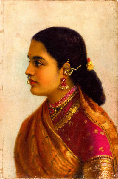 Portrait of a Young Woman in Russet and Crimson Sari - Art Prints