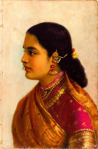 Portrait of a Young Woman in Russet and Crimson Sari - Framed Prints