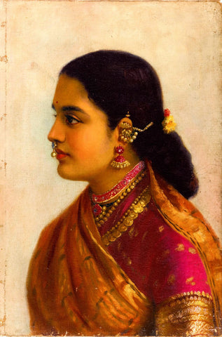 Portrait of a Young Woman in Russet and Crimson Sari